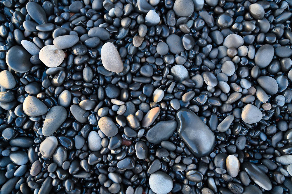 A shot of some stones from the black sand beaches in Vik, Iceland.