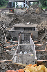 Electrical Vault and Trench, East end of Project, view East. Construction Progress Photography of the Railroad Station at Fairfield Metro Center - Site visit 13 of once per month Chronological Documentation.
