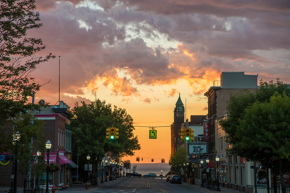 Sunrise over Lake Superior and downtown Marquette, Michigan.