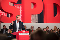 19 MAR 2017, BERLIN/GERMANY:<br /> Michael Mueller, SPD , Reg. Buergermeister Berlin, haelt eine Rede, a.o. Bundesparteitag, Arena Berlin<br /> IMAGE: 20170319-01-005<br /> KEYWORDS: party congress, social democratic party, speech, Michael M&uuml;ller