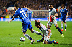 Chelsea Midfielder Oscar (BRA) is fouled by PSG Midfielder Marco Verratti (ITA) - Photo mandatory by-line: Rogan Thomson/JMP - 07966 386802 - 08/04/2014 - SPORT - FOOTBALL - Stamford Bridge, London - Chelsea v Paris Saint-Germain - UEFA Champions League Quarter-Final Second Leg.
