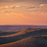 warm light, thunder clouds over montana prairie conservation photography - montana wild prairie
