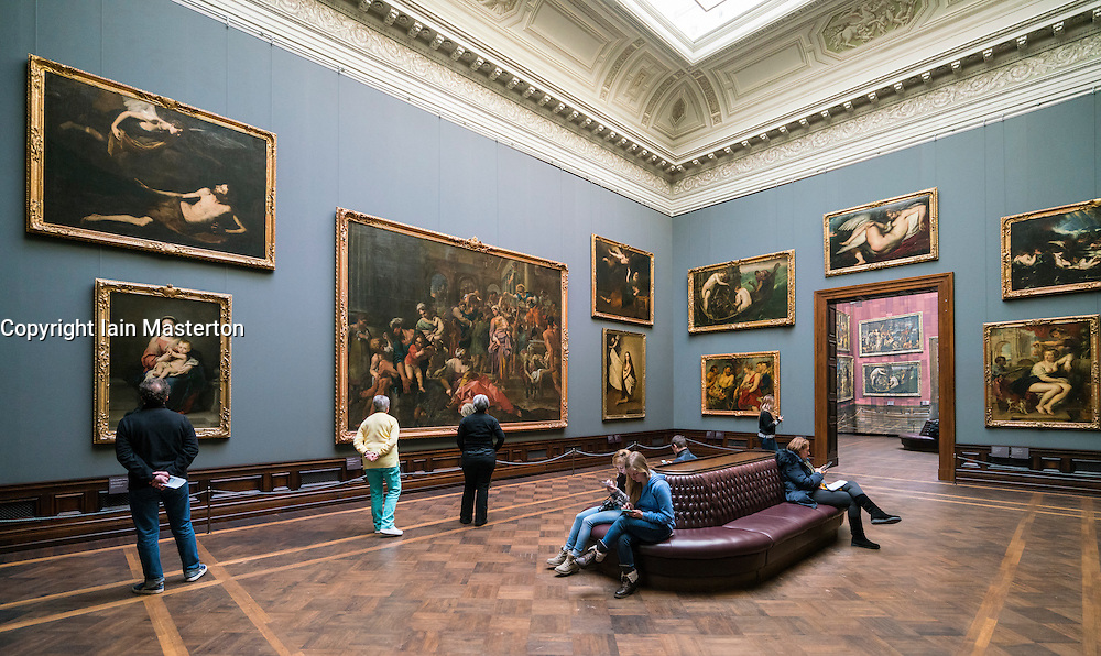 Interior of paintings gallery at Gemäldegalerie Alte Meister or Zwinger Museum in Dresden, Germany .Editorial Use Only.