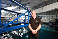 Stéphane Hénard, Head of Aquariology at Nausicaá, above the huge new 10,000 cubic metre tank shortly before its opening in May 2018. Boulogne-sur-Mer, Pas-de-Calais, France © Rudolf Abraham