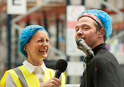 © Licensed to London News Pictures.03/06/2016. Bristol, UK. WILL YOUNG performs on BBC Music Day across the UK, at Pukka Herbs, producer of herbal teas and well-being supplements, in Aztec West. Everyone had to wear hair nets for hygiene. Photo credit: Simon Chapman/LNP