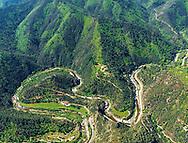 France, Languedoc Roussillon, Gard, Cevennes, Saint Jean du Gard, Le Gardon de Saint Jean, vue aérienne