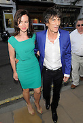24.JULY.2012. LONDON<br /> <br /> RONNIE WOOD AND GIRLFRIEND SALLY HUMPHREYS ATTEND A VIEWING OF NEW ART INSTALLATION 'WARHOL/MAURO' AT THE HALCYON GALLERY ON NEW BOND STREET, MAYFAIR.<br /> <br /> BYLINE: EDBIMAGEARCHIVE.CO.UK<br /> <br /> *THIS IMAGE IS STRICTLY FOR UK NEWSPAPERS AND MAGAZINES ONLY*<br /> *FOR WORLD WIDE SALES AND WEB USE PLEASE CONTACT EDBIMAGEARCHIVE - 0208 954 5968*