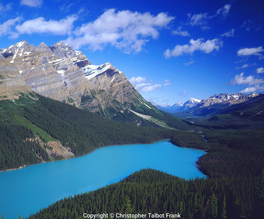 I took a picture of the turquoise colored Peyto Lake which is a glacier fed lake in the Canadian Rocky Mountains.  This cool photo shows a vast mountain range, forest covered valley, an alpine peak, and a glaciated vivid blue lake.