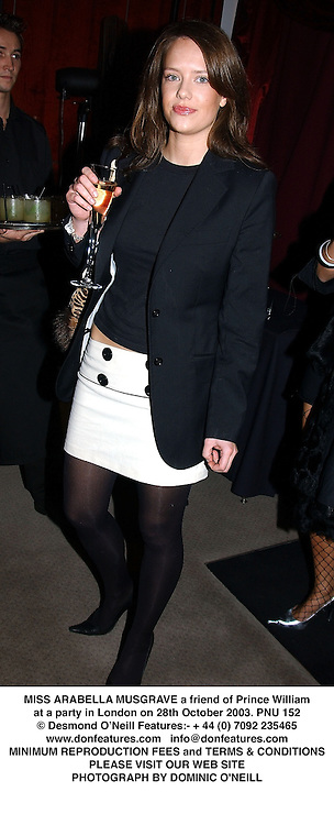 MISS ARABELLA MUSGRAVE a friend of Prince William at a party in London on 28th October 2003.PNU 152