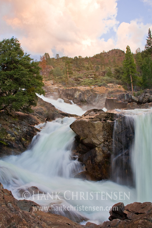 Upper Rancheria Falls and sunset clouds, Yosemite National Park