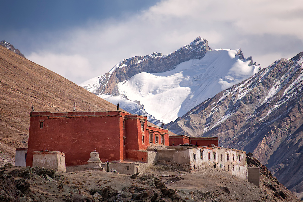 The Rangdum Monastery and Himalayan peaks on the way to Zanskar over the Penzi La (Pass).