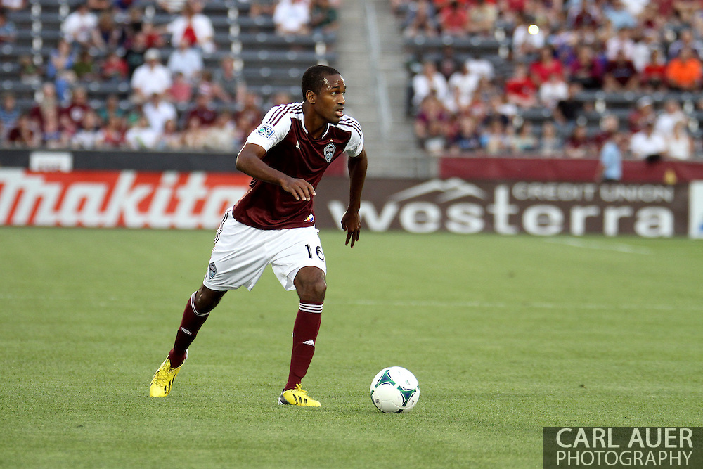July 4th, 2013 - Colorado Rapids midfielder Atiba Harris (16) looks for a pass in first half action of the Major League Soccer match between New York Red Bulls and the Colorado Rapids at Dick's Sporting Goods Park in Commerce City, CO