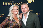 Nederlandse galapremiere van de Disney-klassieker Lion King in Pathe Tuschinski, Amsterdam.<br /> <br /> Op de foto:  Dennis Weening en partner Stella Weening