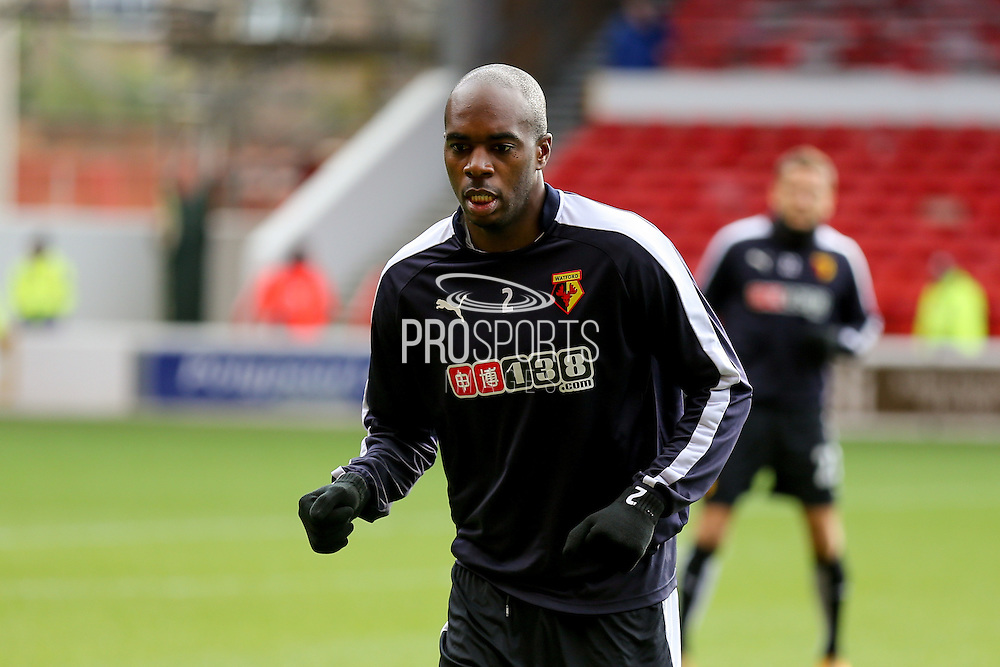 Watford defender Allan-Romeo Nyom  during the The FA Cup fourth round match between Nottingham Forest and Watford at the City Ground, Nottingham, England on 30 January 2016. Photo by Simon Davies.