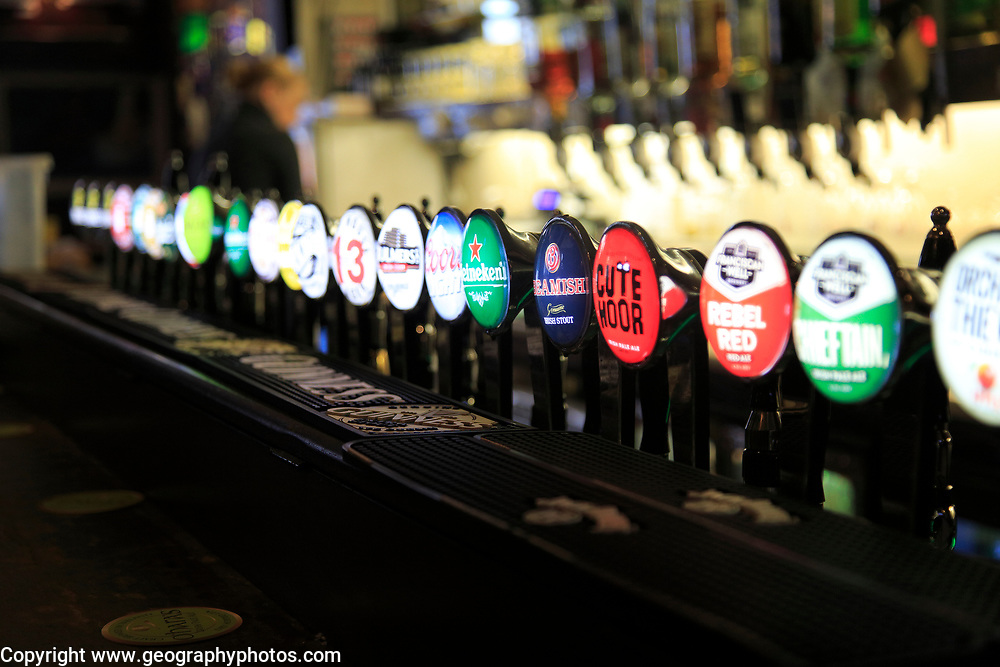 Selection of beer on display, J Grogan pub, South William Street, city of Dublin, Ireland, Irish Republic