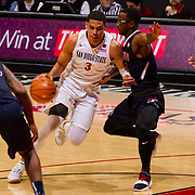 17 January 2018: San Diego State Aztecs guard Trey Kell (3) drives the ball into the key against a Fresno State defender in the first half. San Diego State leads Fresno State 40-36 at halftime at Viejas Arena. <br /> More game action at www.sdsuaztecphotos.com