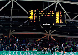 Result after the Euroleague Top 16 basketball match between KK Union Olimpija Ljubljana (SLO) and FC Regal Barcelona (ESP) in Group F, on January 27, 2011 in Arena Stozice, Ljubljana, Slovenia. Barcelona defeated Olimpija 68-67. (Photo By Vid Ponikvar / Sportida.com)