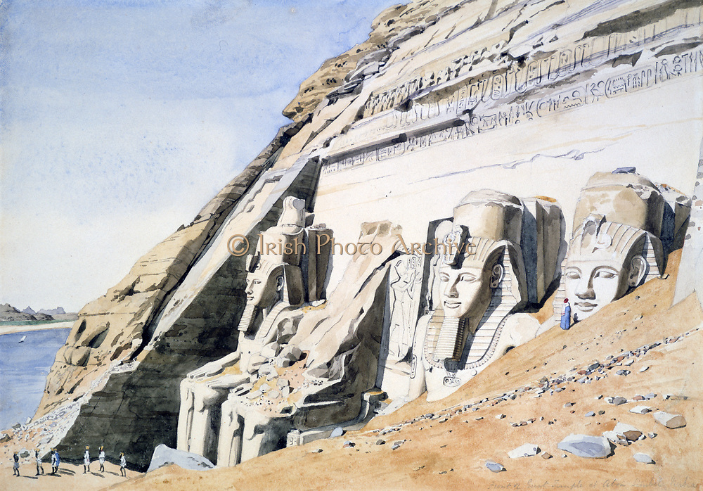 Front of the Great Temple in Abu Simbel' Watercolour. Canon G Frederick Weston, c1850. Giant sandstone statues of Ramses II. Pharaoh Ancient Egypt Archaeology