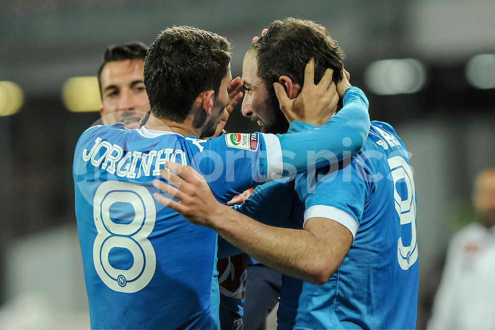 Gonzalo Higuain of Napoli celebrats his second goal during the Serie A TIM match between Napoli and Genoa at Stadio San Paolo, Naples, Italy on 20 March 2016. Photo by Franco Romano.