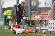 Bradford City midfielder Callum Guy (18) and Blackpool midfielder Jay Spearing (44) during the EFL Sky Bet League 1 match between Blackpool and Bradford City at Bloomfield Road, Blackpool, England on 7 April 2018. Picture by Craig Galloway.