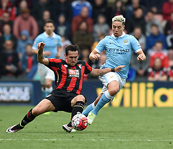 Charlie Daniels of Bournemouth battles with Samir Nasri of Manchester City - Mandatory by-line: Paul Knight/JMP - 02/04/2016 - FOOTBALL - Vitality Stadium - Bournemouth, England - AFC Bournemouth v Manchester City - Barclays Premier League