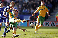 Leicester - Saturday, February 16th, 2008: Patrick Kisnorbo (L) of Leicester City and Ched Evans (R) of Norwich City during the Coca Cola Championship match at the Walkers Stadium, Leicester. (Pic by Mark Chapman/Focus Images)