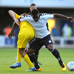 TELFORD COPYRIGHT MIKE SHERIDAN 14/8/2018 - Andre Brown of AFC Telford during the Vanarama Conference North fixture between AFC Telford United and Brackley Town.