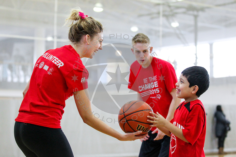 Special Olympics Chicago athletes participate in a basketball skills challenge at DePaul University, Friday, January 23, 2015.
