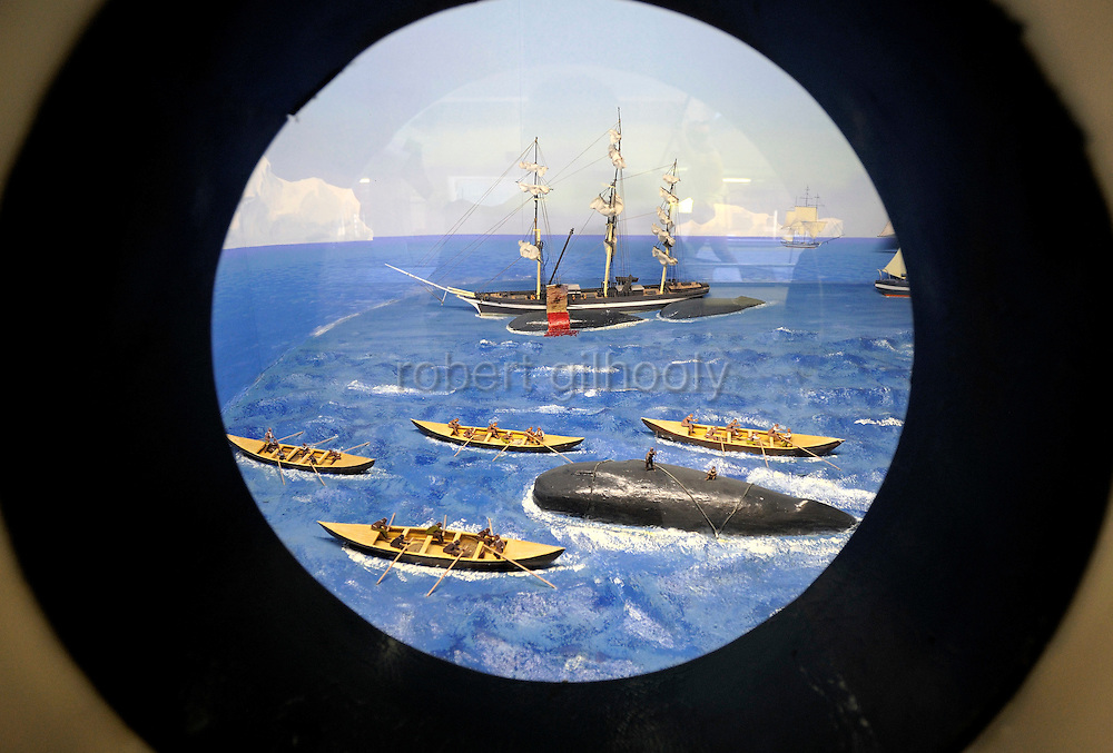 A diorama depicts a whaling expedition at the whaling museum in Taiji, Japan on 10 September 2009. Japan's traditional whaling methods are said to have originated in Taiji in the 17th century, while dolphin hunting continues to be a major industry in the town, sparking protests from international conservation groups. .Photographer: Robert Gilhooly