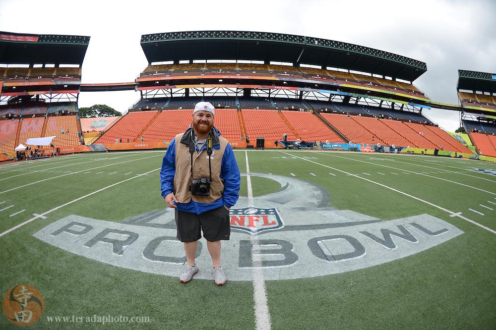 January 26, 2014; Honolulu, HI, USA; Raidersfans.net photographer Bob Carr before the 2014 Pro Bowl at Aloha Stadium.