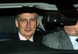 © Licensed to London News Pictures. 08/02/2016. London, UK. PHILIP HAMMOND leaves The Brewery in London after the annual Conservative Party Black & White Ball, a Conservative Party fundraiser.  Photo credit: Ben Cawthra/LNP