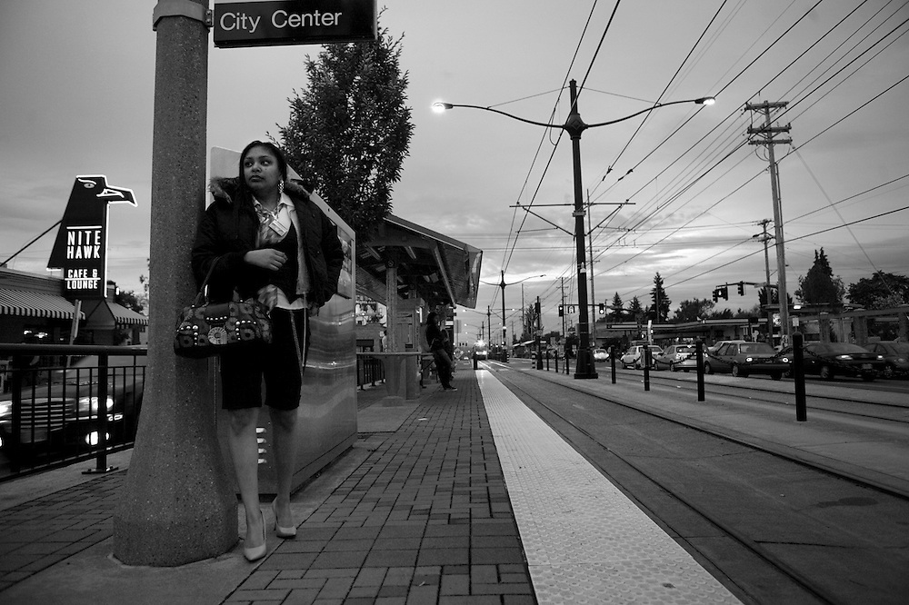 Selina takes the light-rail twice a week, to visit Aaron, in the Multnomah County jail.