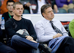 Mayor of Ljubljana Zoran Jankovic (R) at Euroleague basketball match of Group C between KK Union Olimpija, Ljubljana and Maroussi B.C., Athens, on October 29, 2009, in Arena Tivoli, Ljubljana, Slovenia. Olimpija lost 75:81.  (Photo by Vid Ponikvar / Sportida)