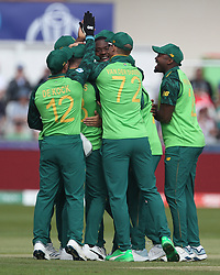 June 28, 2019 - Chester Le Street, County Durham, United Kingdom - South Africa's Kagiso Rabada celebrates with his team mates after dismissing Dimuth Karunaratne first ball during the ICC Cricket World Cup 2019 match between Sri Lanka and South Africa at Emirates Riverside, Chester le Street on Friday 28th June 2019. (Credit Image: © Mi News/NurPhoto via ZUMA Press)