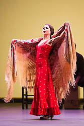 © Licensed to London News Pictures. 11 March 2014. London, England. Olga Pericet performing. Flamenco Festival London 2014 - Gala Flamenca, The Five Seasons. A regular feature at Sadler's Wells annual Flamenco Festival, this year's Gala Flamenca programme features some of the most exciting figures on the flamenco scene - Marco Flores, Olga Pericet, Laura Rozalén and Mercedes Ruiz - bringing together an array of talents and disciplines in one spectacular show. Photo credit: Bettina Strenske/LNP