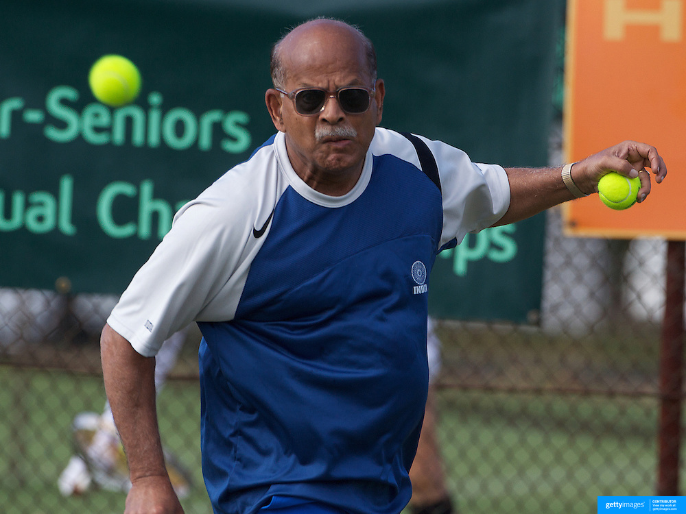 Hebri Ballal, India, in action in the 70 Mens Singles during the 2009 ITF Super-Seniors World Team and Individual Championships at Perth, Western Australia, between 2-15th November, 2009.