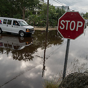 KEY LARGO, FLORIDA, NOVEMBER 15, 2016<br /> Twin Lakes residents  drive through salt water on several areas flooded as a result of the flooding that follows a super moon. This is a regular occurrence in parts of Florida. <br /> (Photo by Angel Valentin/Freelance)
