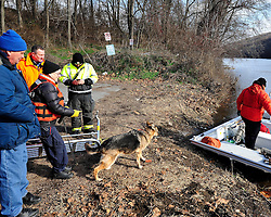 Members of the Ramapo Rescue Dog Association of New Jersey with Allentown firefighters search the Lehigh River by boat. Emergency crews continue to search for a missing child on Jan. 2nd, 2016, near Keck Park in Allentown. The five-year-old autistic child went missing around 11pm on Dec. 31st, 2015 from a family gathering on the east side of Allentown. (Chris Post | lehighvalleylive.com)