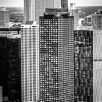 Chicago aerial panorama black and white photo with John Hancock Building. Panorama photo ratio is 1:3.