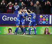 Ipswich striker Daryl Murphy celebrating scoring during the Sky Bet Championship match between Charlton Athletic and Ipswich Town at The Valley, London, England on 28 November 2015. Photo by Matthew Redman.