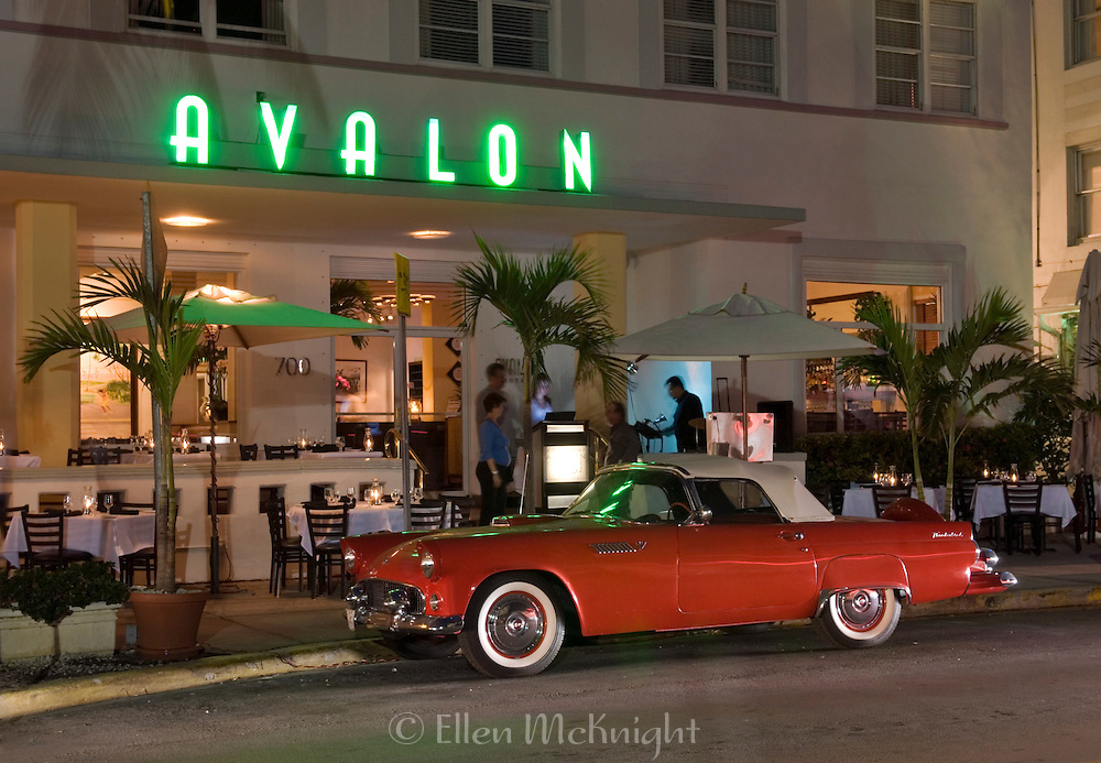 Avalon Hotel in South Beach, Miami with 1950's Thunderbird Parked Outside