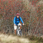 Mountain biker at Col des Supeyres