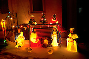 Residential electric Kings bearing gifts Nativity scene in snow. St Paul Minnesota USA