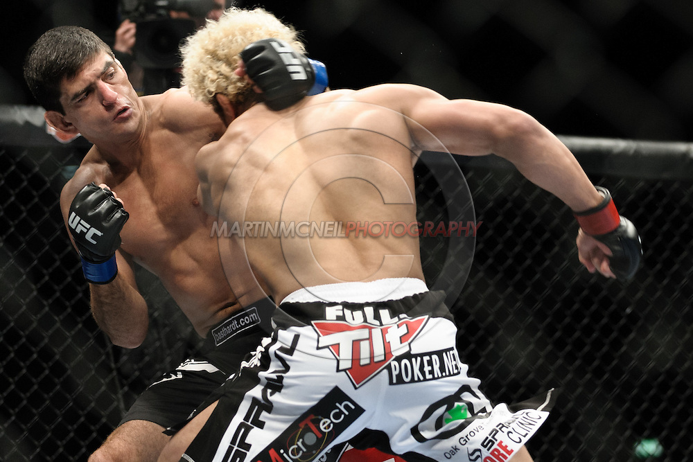 "LONDON, ENGLAND, FEBRUARY 21, 2009: Paulo Thiago (left) trades blows with Josh Koscheck during ""UFC 95: Sanchez vs. Stevenson"" inside the O2 Arena in Greenwich, London."