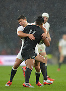 Twickenham, Great Britain, England's Ben YOUNGS get to grips with Julian SAVEA during the QBE Autumn International, England vs New Zealand, RFU Stadium Twickenham, Surrey.  Saturday 08/11/2014 [Mandatory Credit; Peter SPURRIER/Intersport Images]