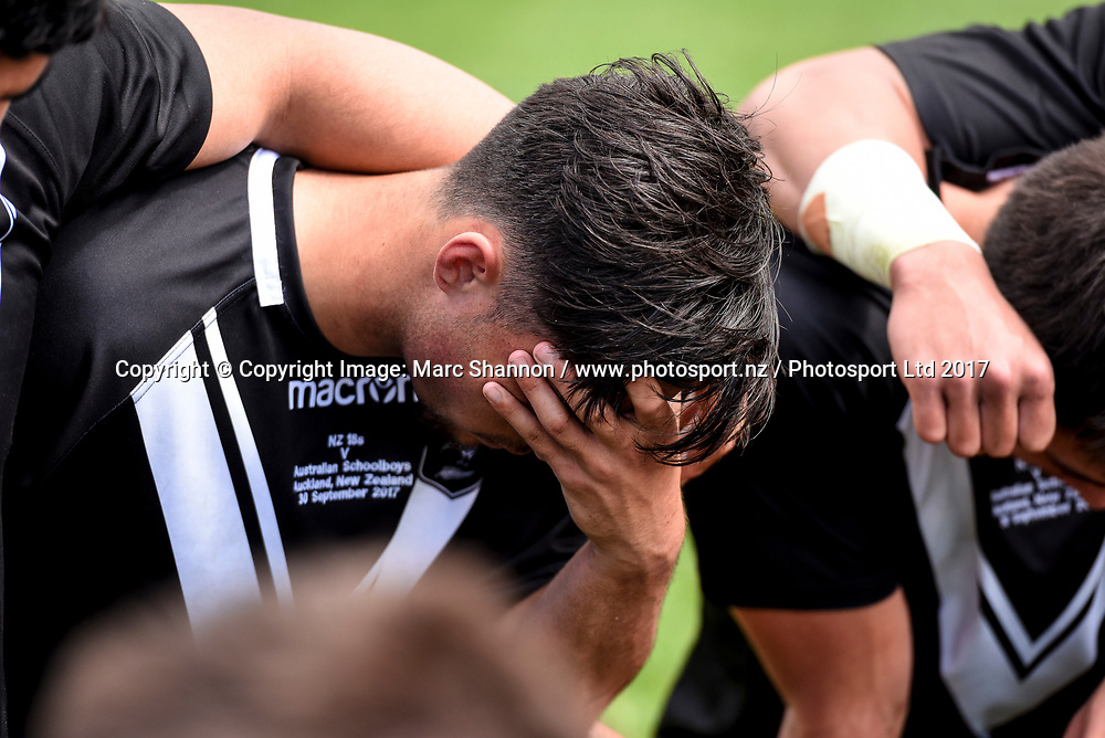 Dejected New Zealand 18s Joseph Taipari after his teams loss against the Australian Schoolboys.<br /> New Zealand 18s v Australian Schoolboys, NZRL, The Trusts Arena, Auckland, New Zealand. 30 September 2017. &copy; Copyright Image: Marc Shannon / www.photosport.nz.