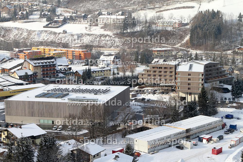 15.01.2013, Schladming, AUT, FIS Weltmeisterschaften Ski Alpin, Schladming 2013, Vorberichte, im Bild Congress, Falkensteiner Hotel, Sporthotel Royer und ORF-Container am 15.01.2013 // Congress Schladming, Falkensteiner Hotel, Sporthotel Royer and ORF-Container on 2013/01/15, preview to the FIS Alpine World Ski Championships 2013 at Schladming, Austria on 2013/01/15. EXPA Pictures © 2013, PhotoCredit: EXPA/ Martin Huber