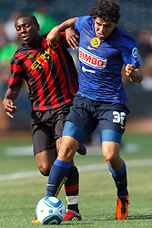 July 16, 2011; San Francisco, CA, USA;  Club America defender Erik Pimentel (32) fights for a loose ball with Manchester City midfielder Shaun Wright-Phillips (8) during the first half at AT&T Park.
