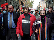 Roma 26 Novembre 2002.Manifestazione degli operai della Fiat di Termini Imerese per la difesa del posto di lavoro e contro i licenzimenti. Il movimento dei disobbedienti in corteo, Luca Casarini, Don Vitaliano Della Sala e Paolo Cento, Deputato dei Verdi.Rome 26 Novembre 2002.Workers of Fiat rally against the hypothetical of closure of Termini Imerese's Fiat plant or reduction of personnel.he movement of the disobedient in procession, Luca Casarini, Don Vitaliano Della Sala and Paolo Cento, a deputy for the Greens.