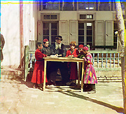What Russian Empire Looked Like Before 1917… In Colour<br /> <br /> <br /> The Sergei Mikhailovich Prokudin-Gorskii Collection features colour photographic surveys of the vast Russian Empire made between ca. 1905 and 1915. Frequent subjects among the 2,607 distinct images include people, religious architecture, historic sites, industry and agriculture, public works construction, scenes along water and railway transportation routes, and views of villages and cities. An active photographer and scientist, Prokudin-Gorskii (1863-1944) undertook most of his ambitious colour documentary project from 1909 to 1915. <br /> <br /> Photo Shows; Jewish children with a teacher. Samarkand. (between 1905 and 1915)<br /> ©Library of Congress/Prokudin-Gorskii/Exclusivepix Media